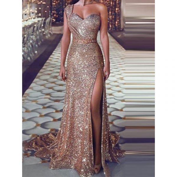 Split Floor-Length Sleeveless Womens Dress