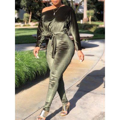 Full Length Plain Lace-Up Skinny Womens Jumpsuit