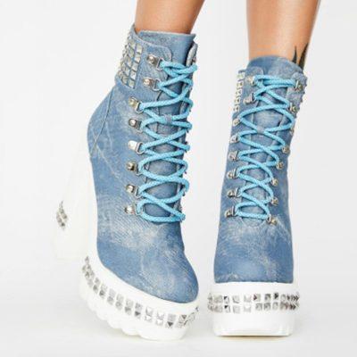 Shoespie Trendy Plain Round Toe Lace-Up Front Rivet Boots