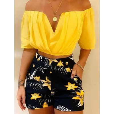 Shorts Floral Fashion Pullover Womens Two Piece Sets