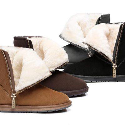 Fashion 4 Shoes - AS UGG Boots Short Zipper - Chocolate / AU Ladies 7 / AU Men 5 / EU 38