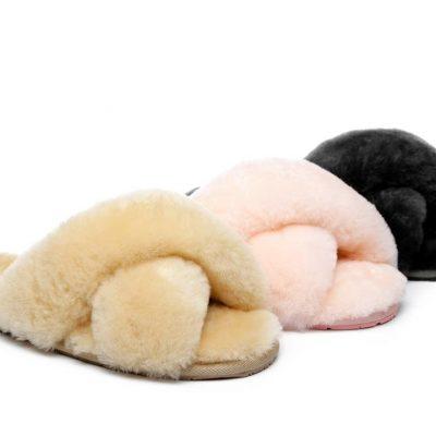 Fashion 4 Shoes - AS UGG Cross Fluffy Slide Linty - Pink / AU Ladies 5 / AU Men 3 / EU 36