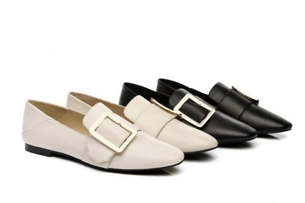 Fashion 4 Shoes - AS UGG Square Buckle Loafer Sally - Cream / AU Ladies 4 / AU Men 2 / EU 35