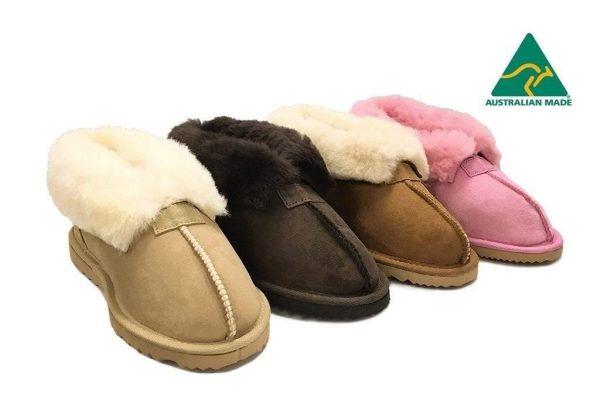 Fashion 4 Shoes - Australian Made Wool Collar Slipper - Chocolate / AU Ladies 9 / AU Men 7 / EU 40