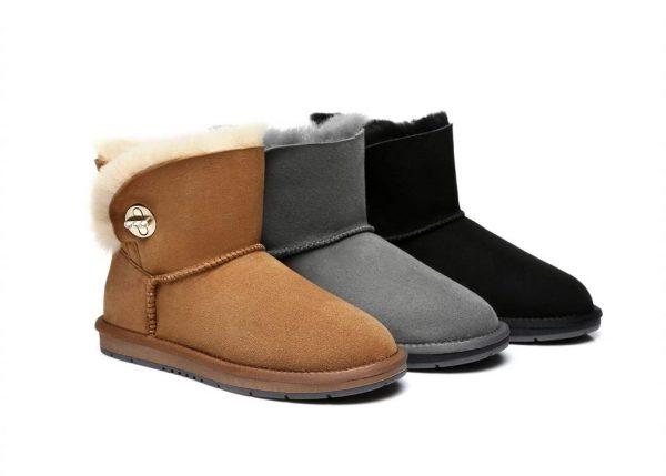Fashion 4 Shoes - Australian Shepherd UGG Boots Metal Turn Button with Crystal Mini Layton,Diamond Boots - Black / AU Ladies 5 / AU Men 3 / EU 36