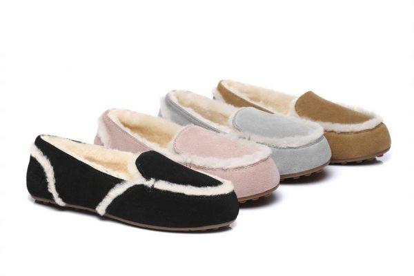 Fashion 4 Shoes - Australian Shepherd UGG Moccasin Rimmy - Grey / AU Ladies 8 / AU Men 6 / EU 39