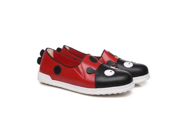 Fashion 4 Shoes - Ever UGG Dotti Kids Breathe cowhide Leather Shoes #21425 - Red / AU Kids 12-13 / EU 31