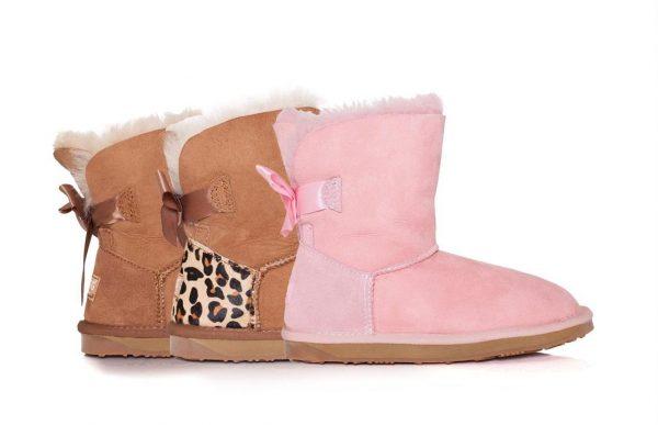 Fashion 4 Shoes - Ever UGG Kids Mini Boots with Bailey Bow - Pink / AU Kids 8-9 / EU 27