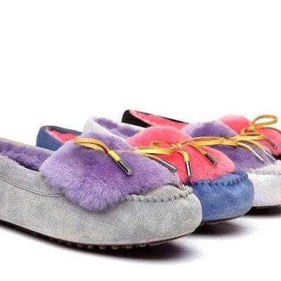 Fashion 4 Shoes - Ever UGG Ladies Fluffy Moccasin #11654 - Plum / AU Ladies 4 / AU Men 2 / EU 35