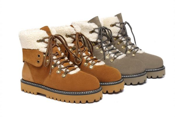 Fashion 4 Shoes - Ever UGG Ladies Leather Lace-up boots Nala #321023 - Chestnut / AU Ladies 5 / AU Men 3 / EU 36