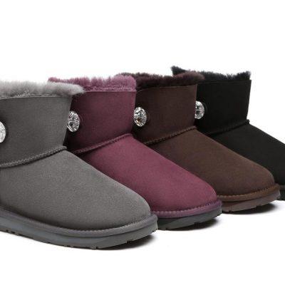 Fashion 4 Shoes - Ever UGG Mini Button Boots with Crystal #11751- Clearance Sale - Black / AU Ladies 4 / AU Men 2 / EU 35