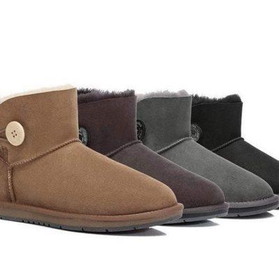 Fashion 4 Shoes - UGG Boots Australia Premium Double Face Sheepskin Mini Button,Water Resistant #15702 - Chestnut / AU Ladies 4 / AU Men 2 / EU 35
