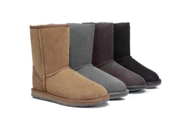 Fashion 4 Shoes - UGG Boots Australia Premium Double Face Sheepskin Unisex Short Classic,Water Resistant #15801 - Black / AU Ladies 8 / AU Men 6 / EU 39