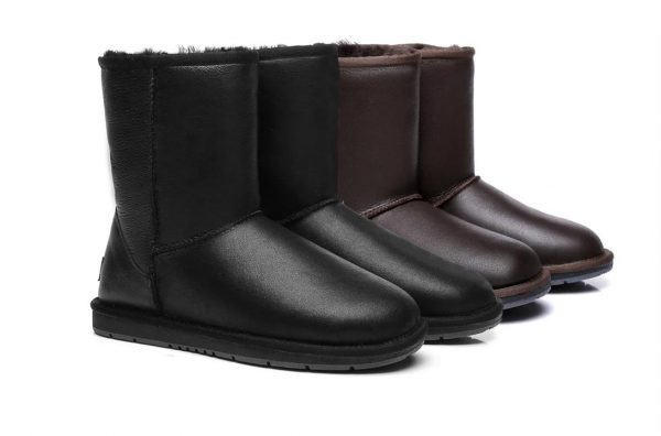 Fashion 4 Shoes - UGG Boots Australia Premium Sheepskin Unisex Short Classic Nappa,Water Resistant #15801 - Nappa Chocolate / AU Ladies 6 / AU Men 4 / EU 37