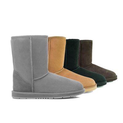 Fashion 4 Shoes - UGG Boots Men Large Size Short Classic,Australia Premium Double Face Sheepskin #15820 - Chocolate / AU Ladies 15 / AU Men 13 / EU 46