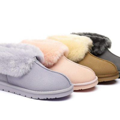 Fashion 4 Shoes - UGG Slippers, Australia Premium Double Face Sheepskin,Unisex Mallow Slipper #513004 - Lilac / AU Ladies 10 / AU Men 8 / EU 41