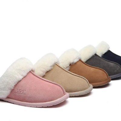 Fashion 4 Shoes - UGG Slippers,Australia Premium Sheepskin,Unisex Rosa Scuff - Dark Grey / AU Ladies 7 / AU Men 5 / EU 38