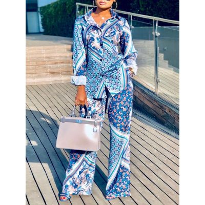 Blue Casual Print Single-Breasted Womens Two Piece Sets