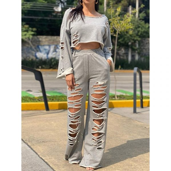 Pants Hole Simple Pullover Womens Two Piece Sets