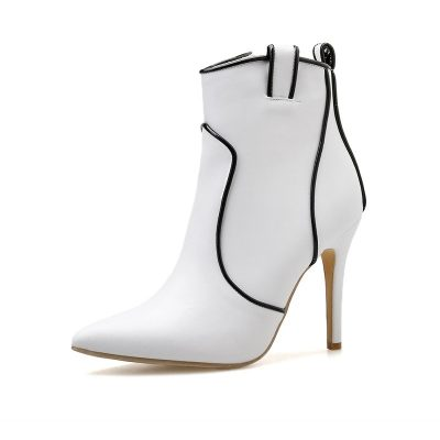 Shoespie Sexy Color Block Pointed Toe Stiletto Heel Boots