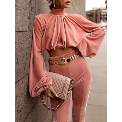 Sweet Pink Pleated Lantern Sleeve Shirt Pencil Pants Womens Two Piece Sets