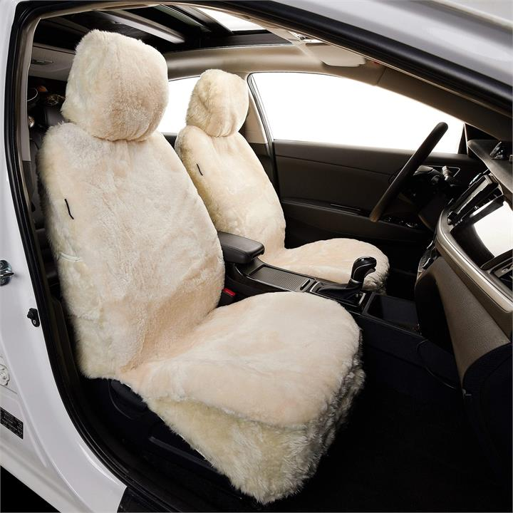Fashion 4 Shoes - 25mm Australia Sheepskin Twin Car Seat Covers,Side air bags safe - Ivory / One Size