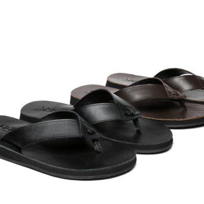 Fashion 4 Shoes - AS Murphy Unisex Leather Slides Thong - Black / AU Ladies 12 / AU Men 10 / EU 43
