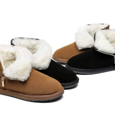 Fashion 4 Shoes - AS Sheepskin Wool Mini Side Zipper Ugg Boots - Chestnut / AU Ladies 5 / AU Men 3 / EU 36