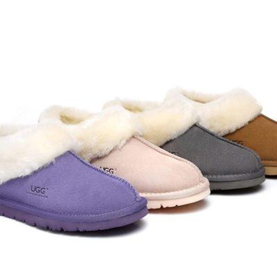 Fashion 4 Shoes - AS UGG Ankle Slipper, Australia Premium Sheepskin, Unisex Homey Moccasins - Pink / AU Ladies 9 / AU Men 7 / EU 40