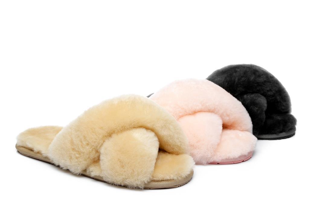 Fashion 4 Shoes - AS UGG Cross Fluffy Slides Linty - Cream / AU Ladies 6 / AU Men 4 / EU 37