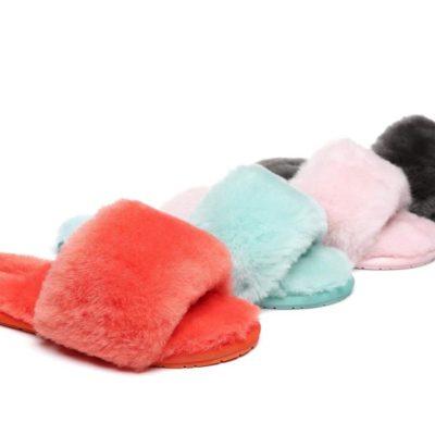 Fashion 4 Shoes - AS UGG Slipper Fluffy Slides Nala - Red / AU 6-7 / EU 37-38 / M