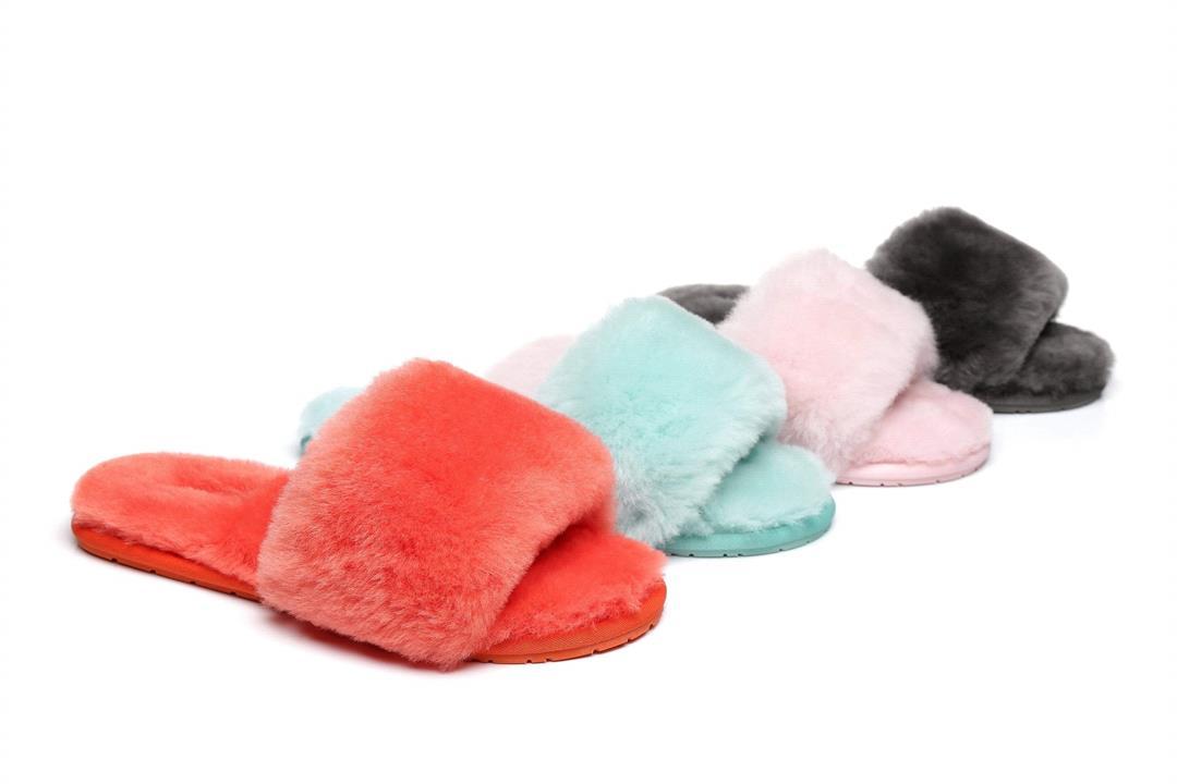 Fashion 4 Shoes - AS UGG Slipper Fluffy Slides Nala - Red / AU Ladies 10-11 / EU 41-42 /XL