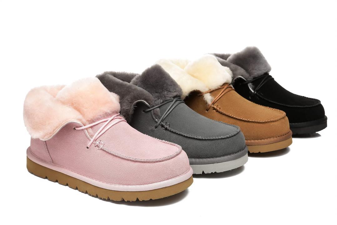 Fashion 4 Shoes - AS Women Mini Ugg Alaina Casual Ankle Ugg Boots with Wool Collar - Black / AU Ladies 4 / AU Men 2 / EU 35