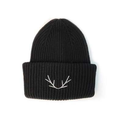 Fashion 4 Shoes - Antler Beanie Hat Winter Knit - Black / One Size