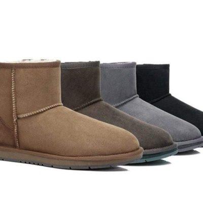 Fashion 4 Shoes - Australian Shepherd Unisex Mini Classic UGG Boots - Black / AU Ladies 13 / AU Men 11 / EU 44