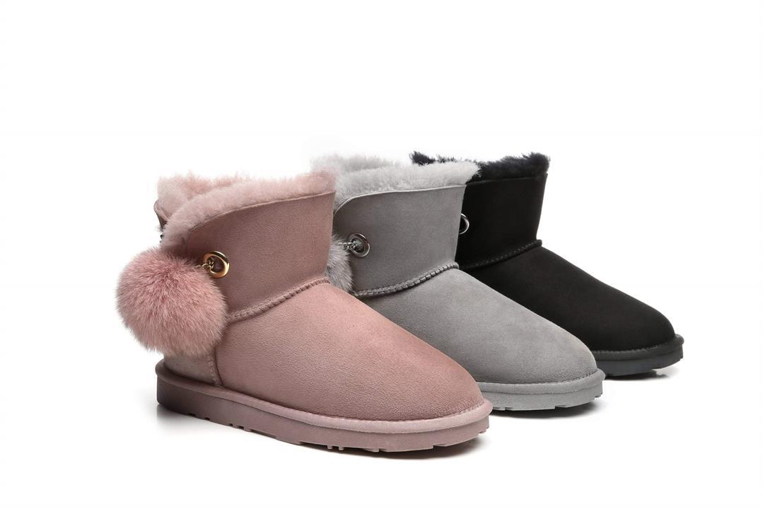 Fashion 4 Shoes - Ever UGG Pom Pom Boots Perry #21662 - Black / AU Ladies 5 / AU Men 3 / EU 36