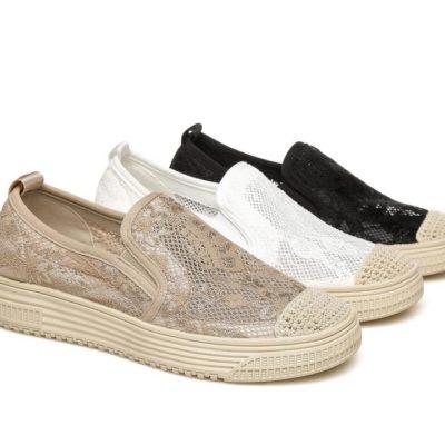 Fashion 4 Shoes - TA Flat Lace Sneaker Lorna - Black / AU Ladies 6 / AU Men 4 / EU 37