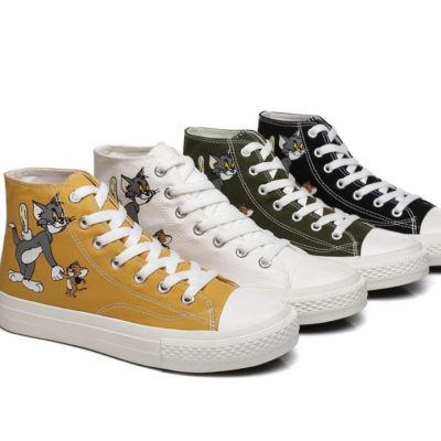 Fashion 4 Shoes - TOM AND JERRY High Top Canvas Sneakers Quacker - Camouflage Army Green / AU Ladies 6 / AU Men 4 / EU 37