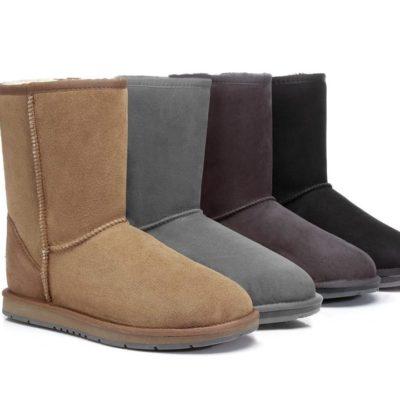 Fashion 4 Shoes - UGG Boots Australia Premium Double Face Sheepskin Unisex Short Classic, Water Resistant - Black / AU Ladies 6 / AU Men 4 / EU 37