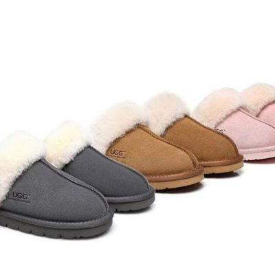 Fashion 4 Shoes - UGG Slippers , Australia Premium Sheepskin,Unisex Muffin Scuff - Grey / AU Ladies 9 / AU Men 7 / EU 40
