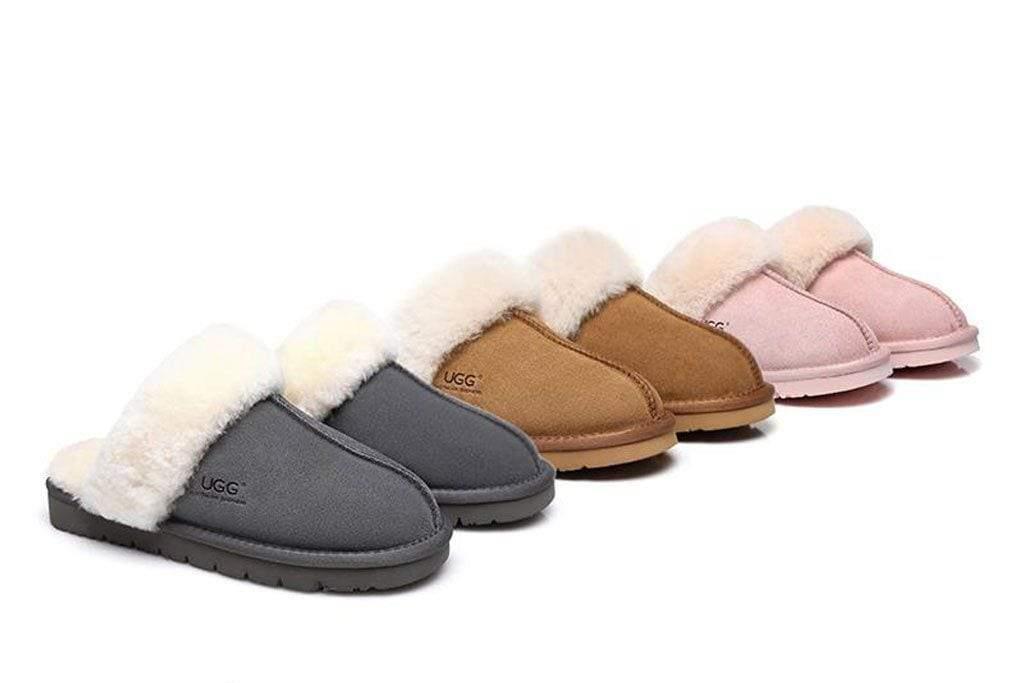 Fashion 4 Shoes - UGG Slippers , Australia Premium Sheepskin,Unisex Muffin Scuff - Grey / AU Ladies 9 / AU Men 7 / EU 40
