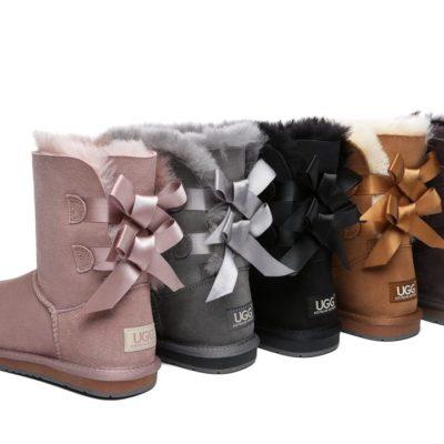 Fashion 4 Shoes - Women Short Ugg Boots with Double Back Bow - Black / AU Ladies 7 / AU Men 5 / EU 38