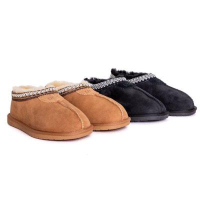Fashion 4 Shoes - AS Unisex Ankle Slipper Venus Twin-Face Sheepskin Home Slippers - Chestnut / AU Ladies 13 / AU Men 11 / EU 44