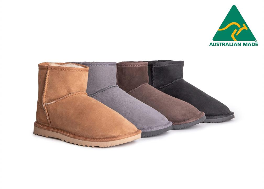 Fashion 4 Shoes - AS Unisex Mini Classic Australian Made UGG Boots - Black / AU Ladies 8 / AU Men 6 / EU 39
