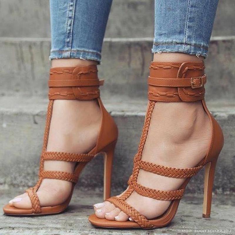 Brown Strappy Buckle Stiletto Heel Sandals
