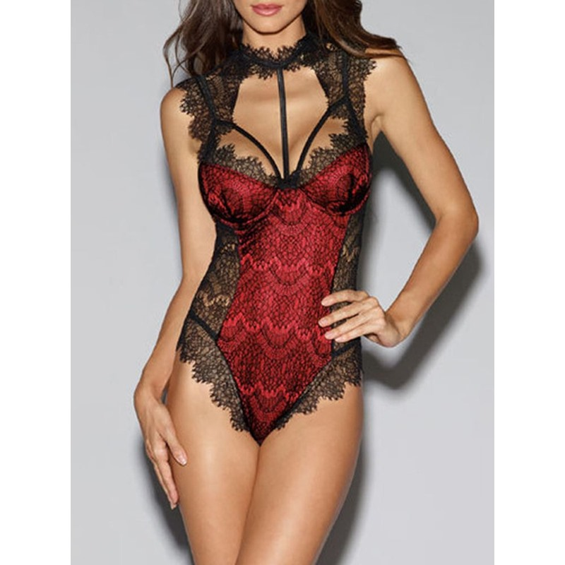 Color Block Lace Off-Shoulder Sleeveless Tight Wrap Polyester Teddies & Bodysuits