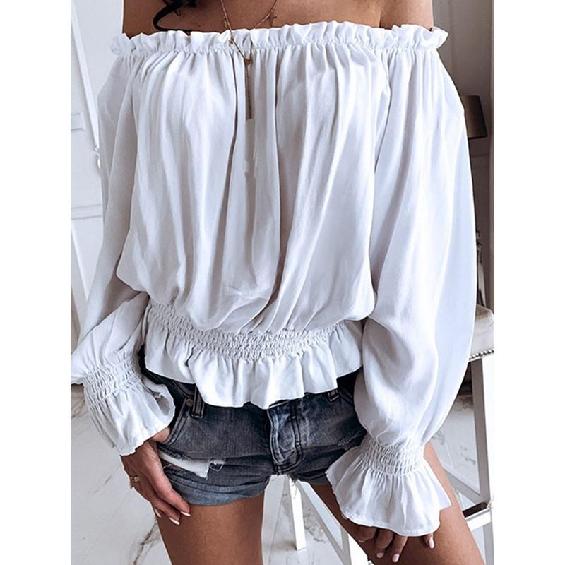 Plain Off Shoulder Long Sleeve Pullover Womens Blouse