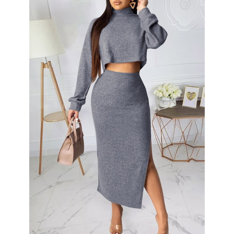 Shoespie Long Sleeve Plain Skirt Casual Womens Two Piece Sets