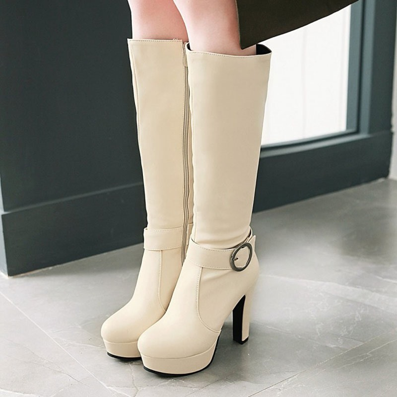 Shoespie Platform Buckle Plain Knee High Boots