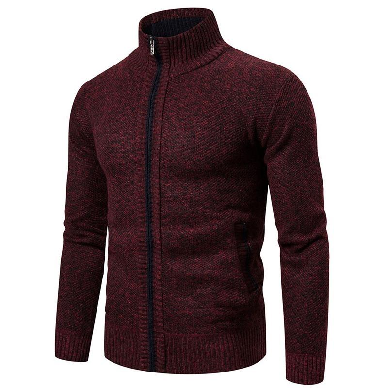 Standard Plain Stand Collar Slim Korean Sweater